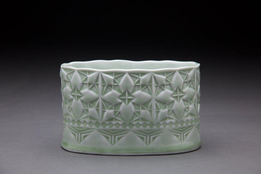3x6x3 in vessel Light sage glaze