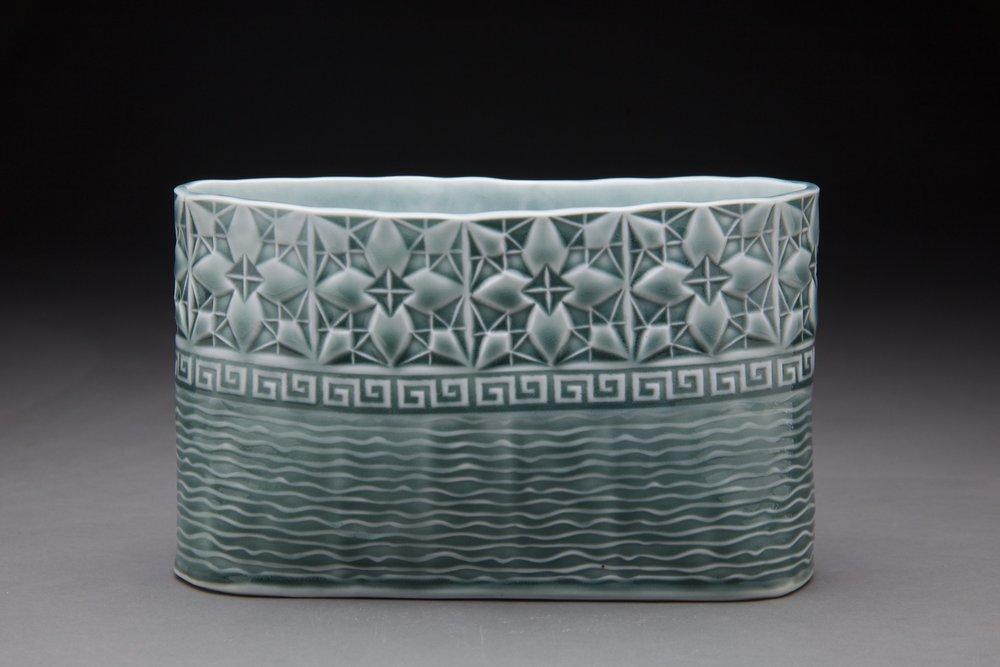 5x3x8 in vessel steel blue glaze