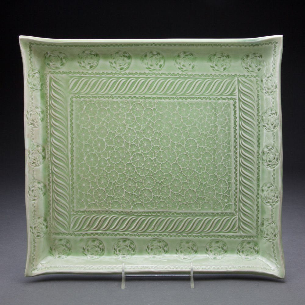 14x14 in. apple green celadon