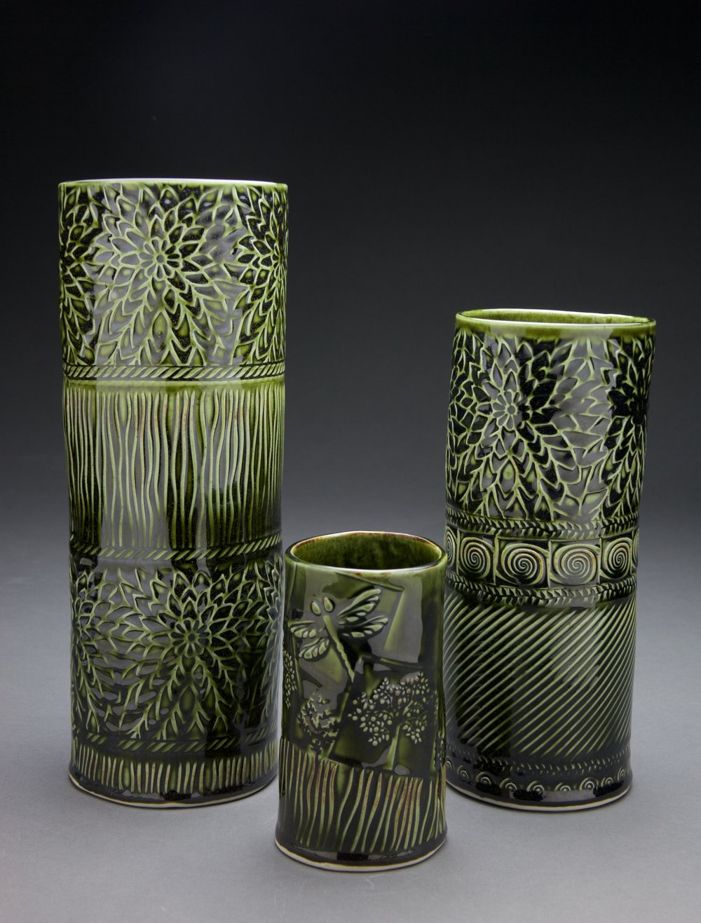 5x5x12 in.  3x3x6 in.  5x5x9 in. vases Forest Green celadon