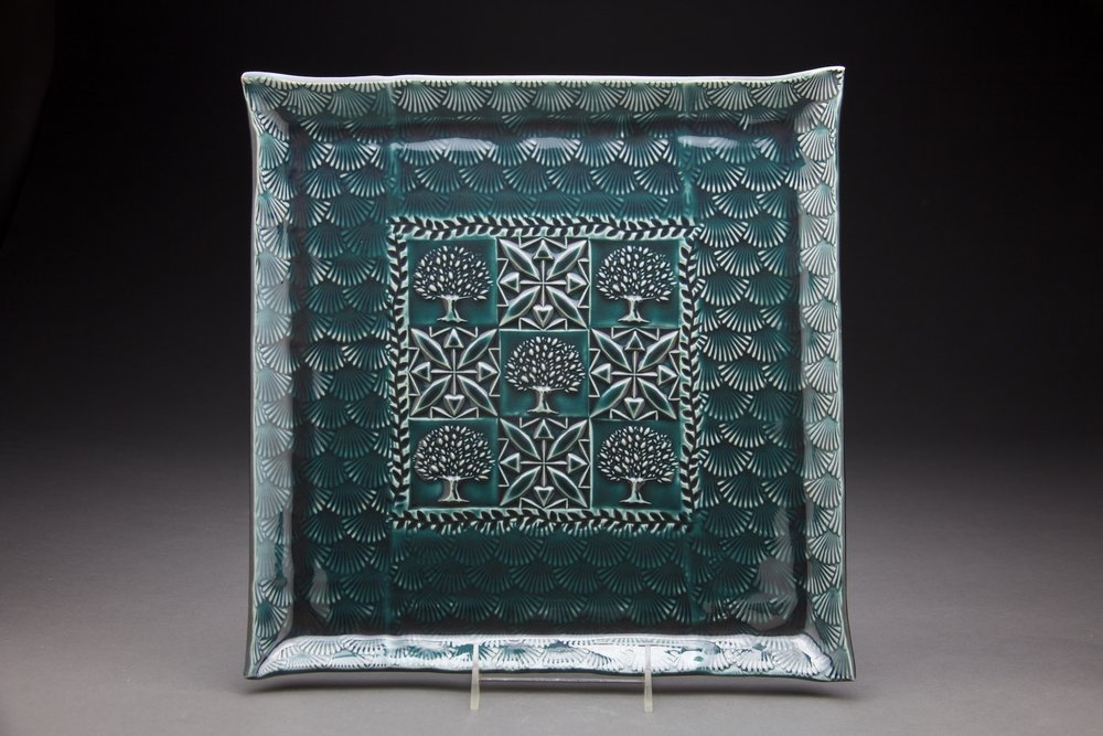 14x14 inches Persian Blue glaze