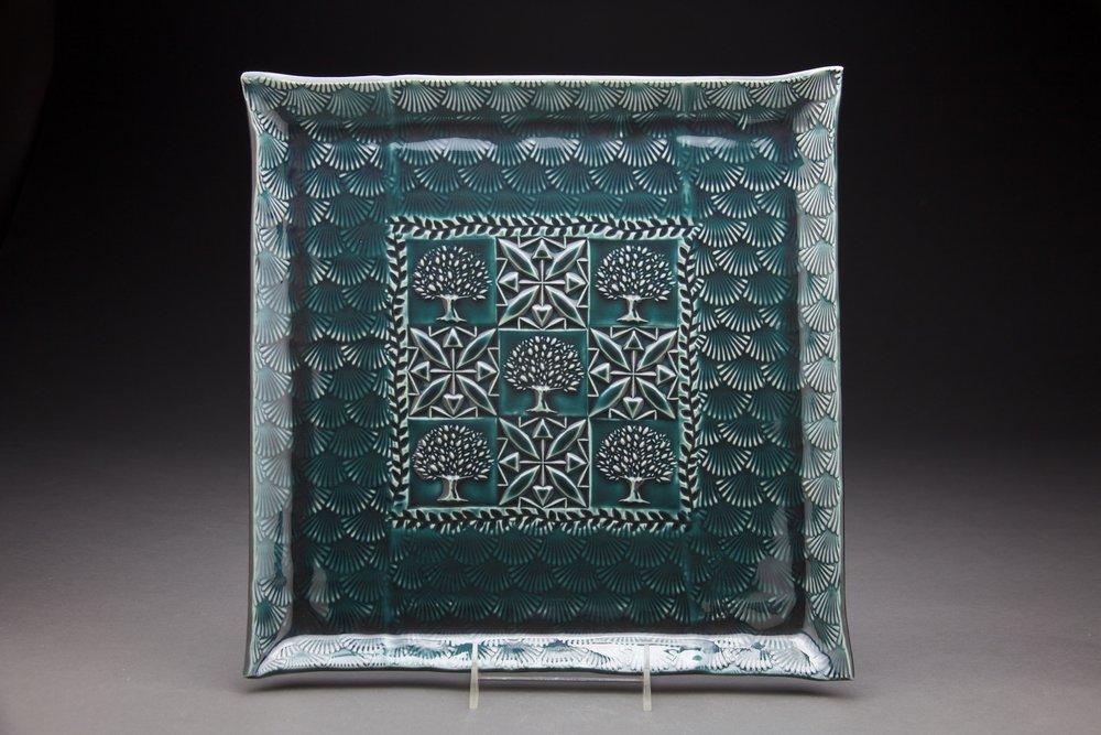 14x14 inches Persian Blue glaze