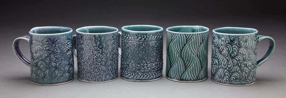16 oz. mugs 3.5x3.5x4 in. Persian Blue glaze