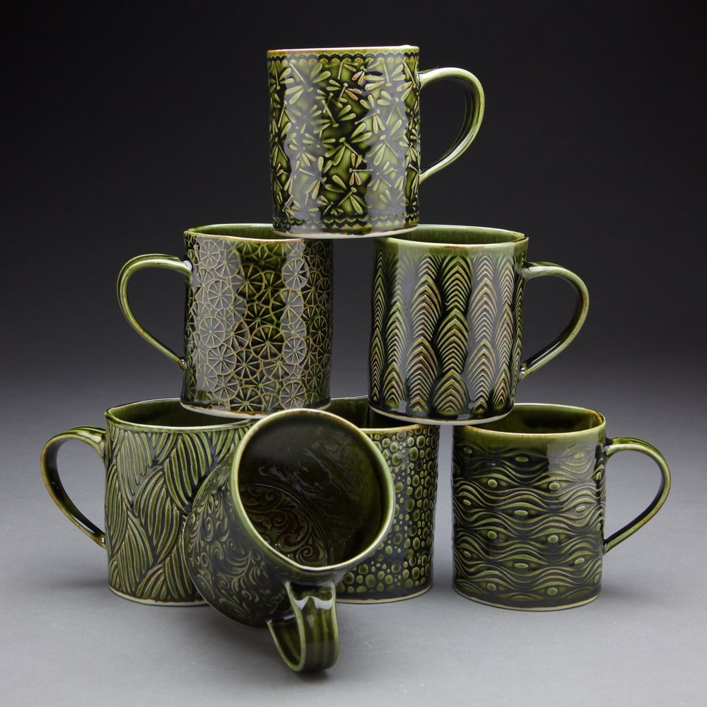 16 oz. mugs 3.5x3.5x4 in. Forest Green glaze