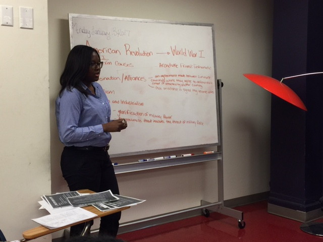 Kessie Petit-Frere introducing social studies to her class.