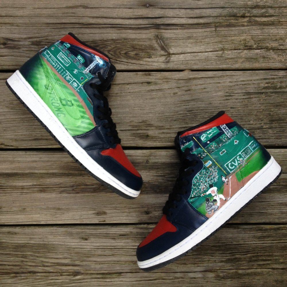 Red Sox World Series Champions Jordan 1's  Designed for  Shane Victorino