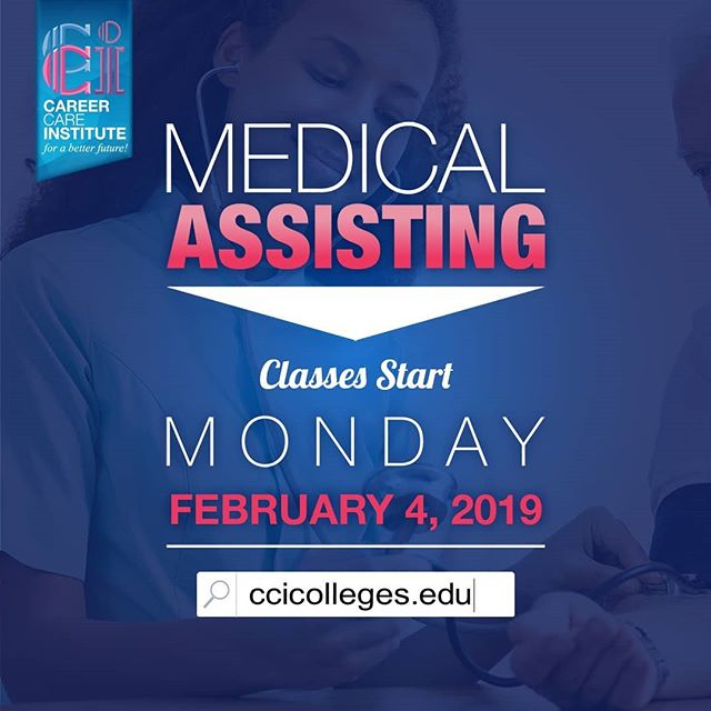 Don't miss out on your chance to enroll in our Medical Assisting program starting next month, Febuary 4, 2019! . . Please visit our website for more information at https://www.ccicolleges.edu/admissions-requirements/ or call us at (661) 418-5860- Lancaster Campus (805) 804-9119- Oxnard Campus (951) 977-4255- Moreno Valley Campus • • #medicalassisting #dentalassisting #dental #medical #vocationalschool #vocationalnursing #vocationaltraining #nursingschool #nursingstudent #nursingstudents #lancaster #santaclaritavalley #santaclarita #scv #ventura #venturacounty #palmdale #palmdaleca #oxnard #oxnardca #antelopevalley #antelopvalleylife #lancaster #lancasterca #medicalfield #medicalschool #medicalstudent #AVnursesrock #ccicolleges #forabetterfuture