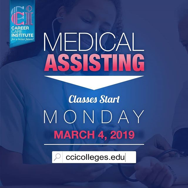 Don't miss out on your chance to enroll in our Medical Assisting program starting next month,  March 4, 2019! . . Please visit our website for more information at https://www.ccicolleges.edu/admissions-requirements/ or call us at (661) 418-5860- Lancaster Campus (805) 804-9119- Oxnard Campus (951) 977-4255- Moreno Valley Campus • • #medicalassisting #dentalassisting #dental #medical #vocationalschool #vocationalnursing #vocationaltraining #nursingschool #nursingstudent #nursingstudents #lancaster #santaclaritavalley #santaclarita #scv #ventura #venturacounty #palmdale #palmdaleca #oxnard #oxnardca #antelopevalley #antelopvalleylife #lancaster #lancasterca #medicalfield #medicalschool #medicalstudent #AVnursesrock #ccicolleges #forabetterfuture