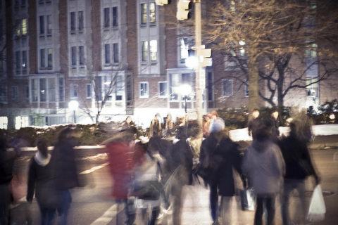 running rushing people