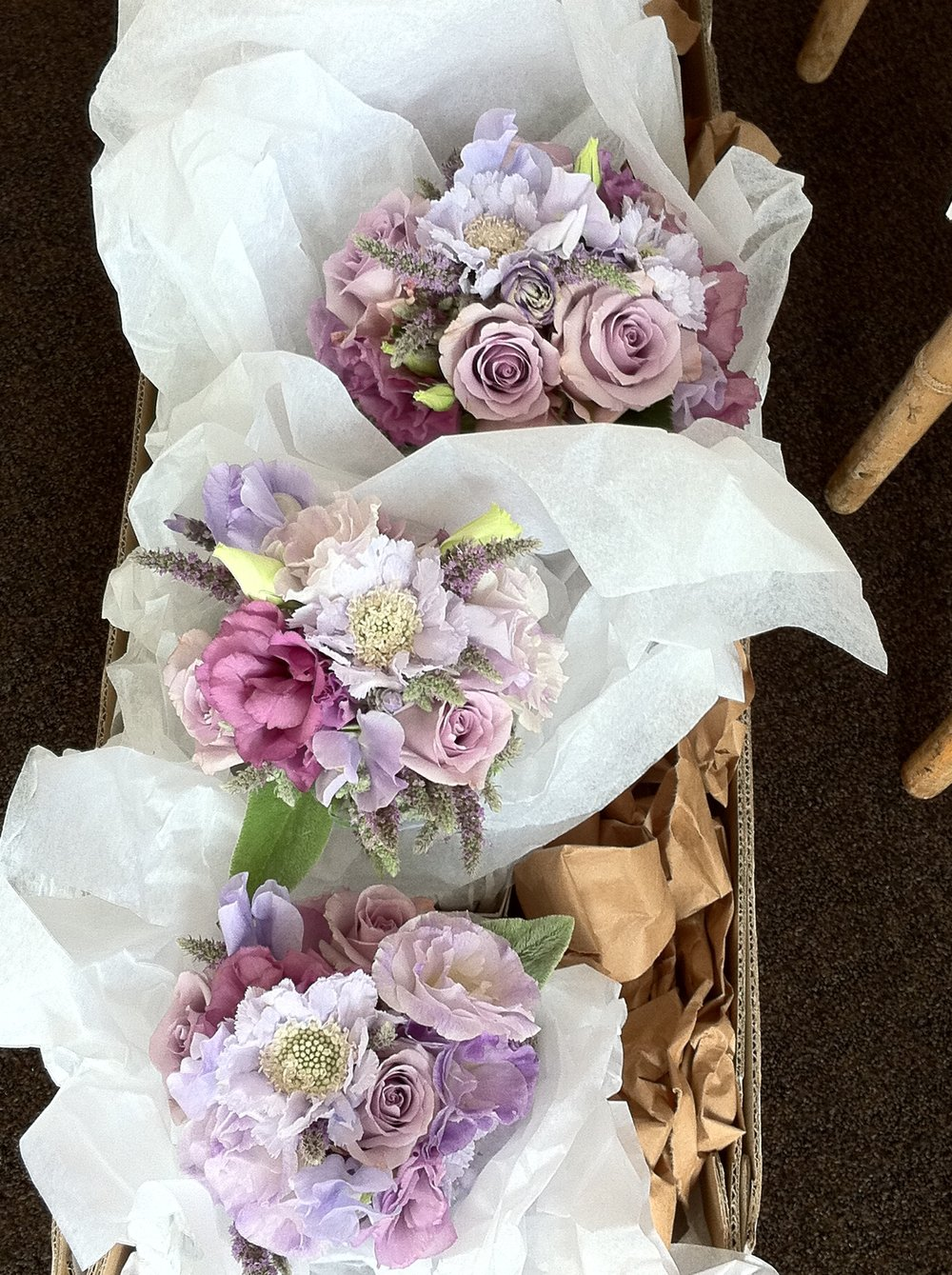 Bridesmaids bouquets at Tribeca 360