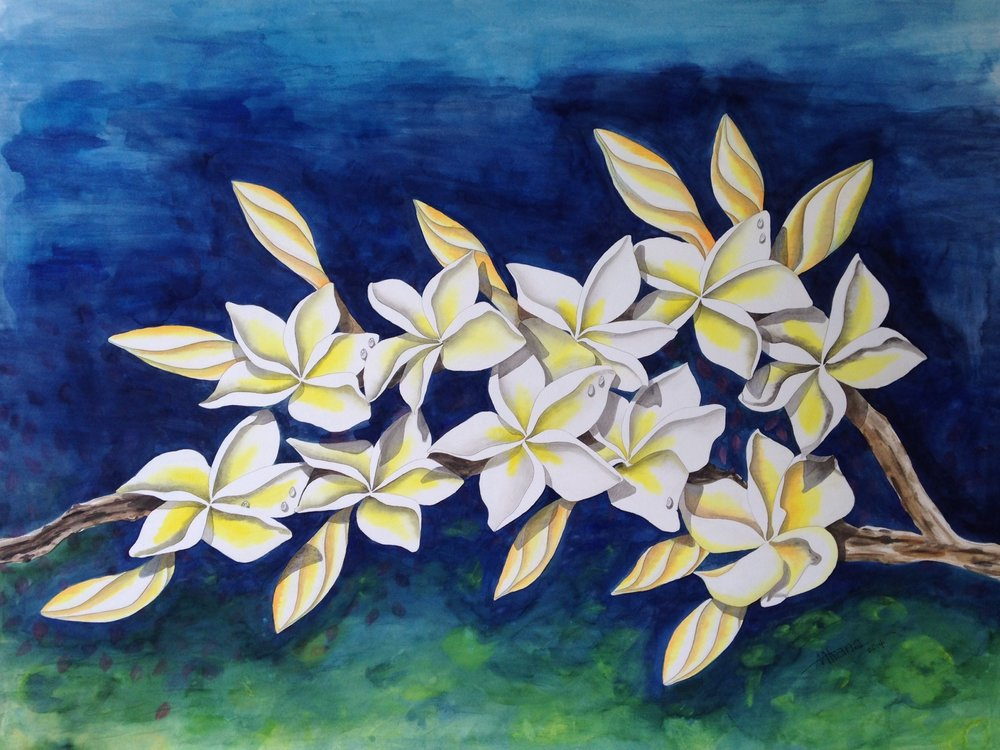 Yellow Plumeria on Blue and Green