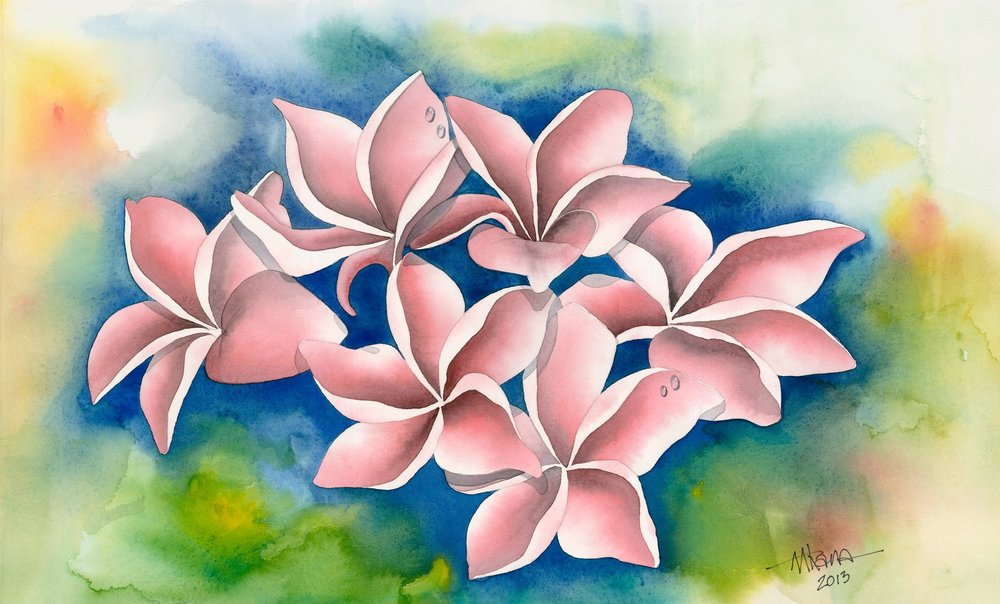 Pink Plumeria on Blue