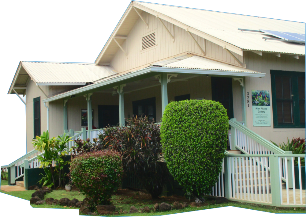 Alan Akana Gallery is located in the historic Smith Memorial Parsonage (3281 Waikomo Road)