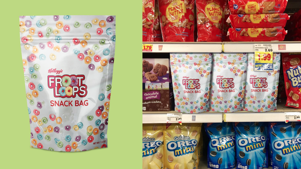 A resealable bag that stands out in the snack aisle.