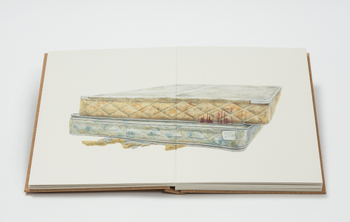 Ed Ruscha, Metro Mattress #4, 2015, Acrylic and pencil on museum board paper. 40 1/8 x 60 inches. Copyright Ed Ruscha, Courtesy of the artist, Gagosian Gallery and Sprueth Magers