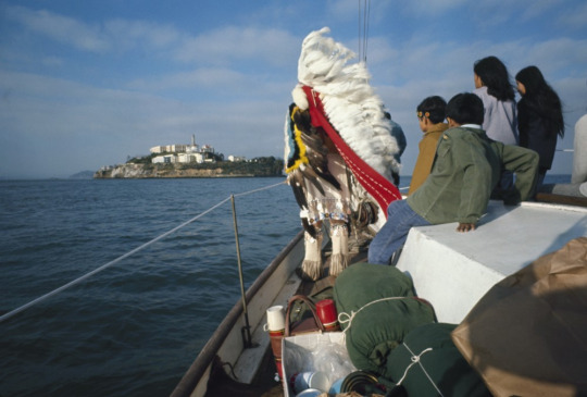 A group of Native Americans approach Alcatraz Island with the aim of reclaiming it from the U.S. government in 1969. (Ralph Crane/Getty)