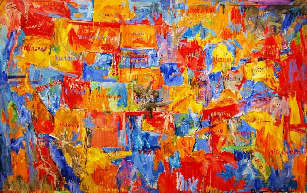 "Jasper Johns,  Map, 1961. Oil on canvas. 6' 6"" x 10' 3 1/8"" (198.2 x 314.7 cm) © 2017 Jasper Johns / Licensed by VAGA, New York"