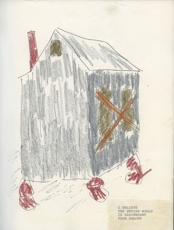 Beverly Buchanan (American, 1940-2015) with poet Alice Lovelace (American, born 1948).  Shack   Stories (Part I) , 1990. Unpublished handmade book of ink and crayon drawings with watercolor and collaged typewritten text. 11 x 8 1/2 in. Private collection. Estate of Beverly Buchanan, courtesy of Jane Bridges.