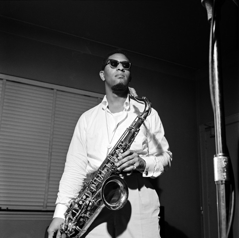 Sonny Rollins in 1957, photograph by Francis Wolff