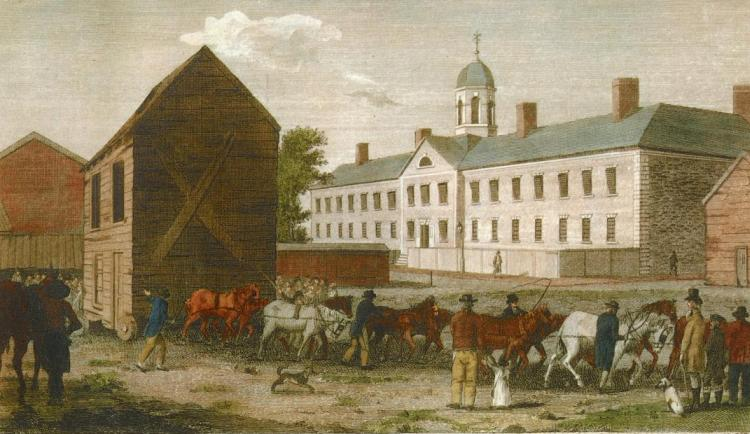Horses moving a house on Walnut Street, Philadelphia. William Birch and Son, 1799.