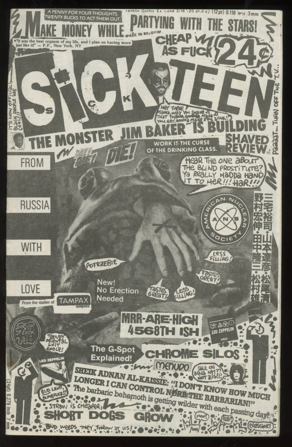 An issue of Sick Teenfrom 1986. Green Bay, WI:Geek & Destroy Graphics,[1986]. 8vo, saddle-stapled wraps.