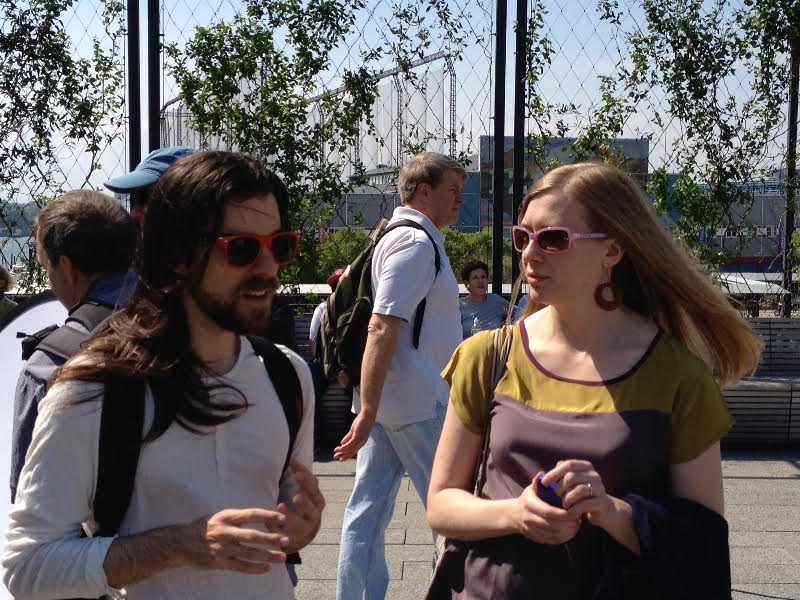 Hill, Simonini, and unknown pedestrian on the High Line in New York in 2013. Photograph by Kirk Michael.