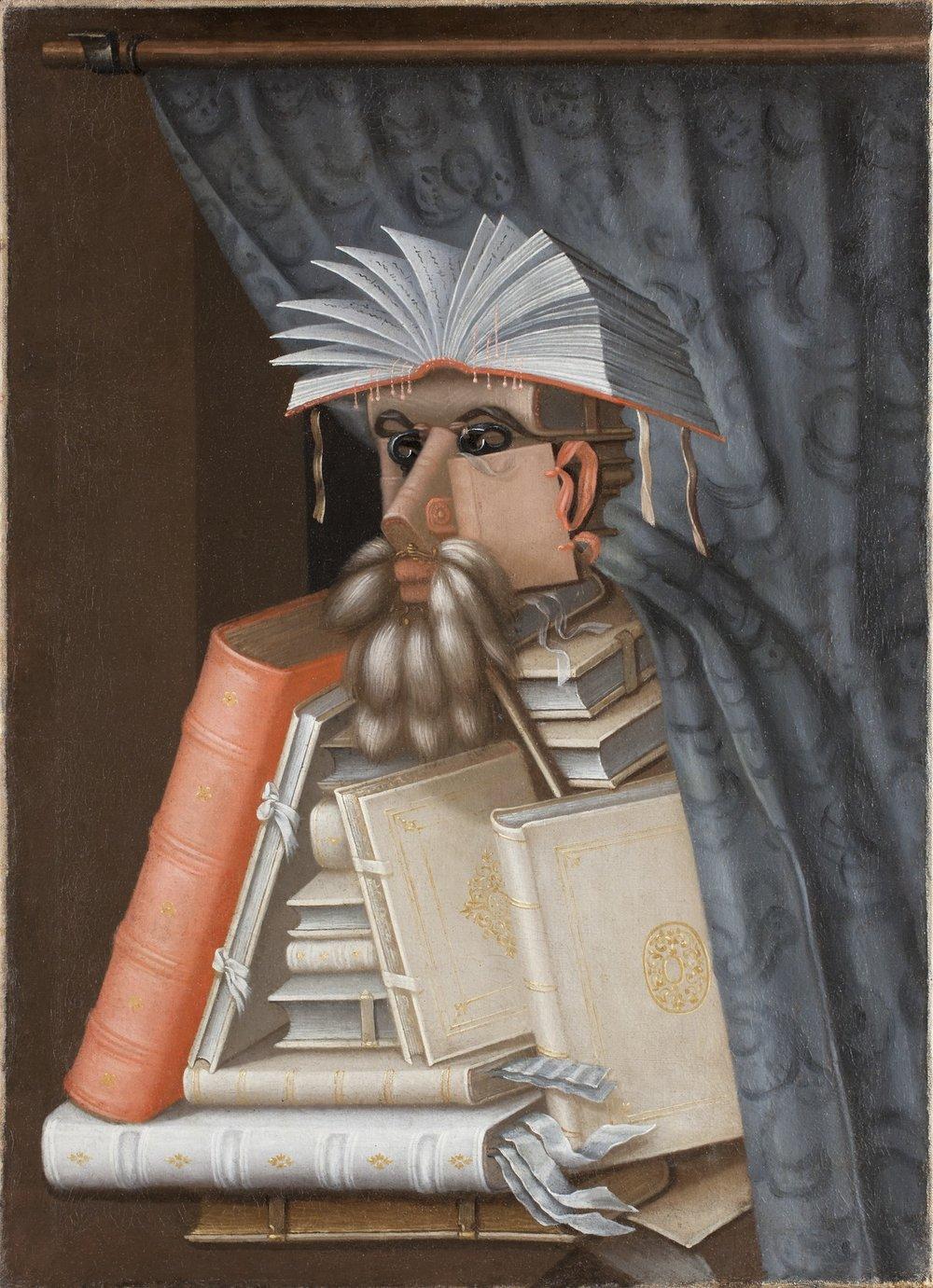 Giuseppe Arcimboldo, The Librarian , 1566, oil on canvas.