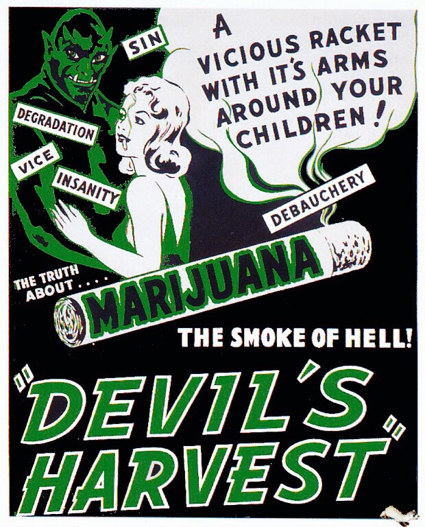 Promotional poster for the 1942 marijuana propaganda film,  Devil's Harvest