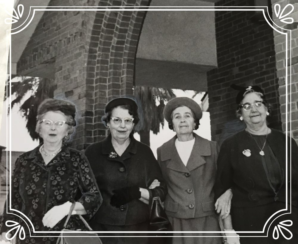 Original Members of the Auxiliary in the 1940's were: left to right, Gladys Lathem, Mrs. William Dinelli, Mrs. Francis L. Rooney, and Eva Miller. Mrs. Rooney was the charter President, and Miss Miller was the charter Secretary-Treasurer. Organizing members not pictured were Mary Doyle, Hazel Hanford, and Mmes. Margaret Brady, Marian Powers, and Eva Francis.
