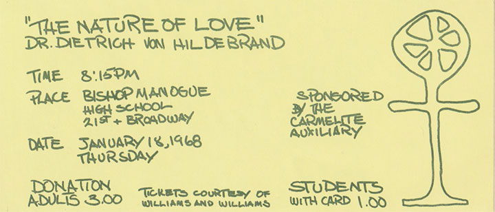 "Original Auxiliary Flyer for ""The Nature of Love"" lecture by Dr. Dietrich Von Hildebrand"