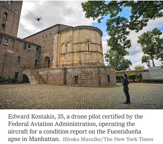 Article in N.Y. Times of DJI M600 Pro carrying a Hasselblad A6D inspecting the wall at MET Cmoisters.  #drone #dji #dronevideo #djiphantom #drones #djimavic #aerialcinematography #aerialnyc #djispark #djimavicpro #aerialphotography #aerialphoto #djim600 #aerialfilming #quadcopter #cloisters #dronegear #cinestar #octocopter #dronestagram #birdseyeview #hasselblad #uav #themet #videoclip #multirotor #dronefly #droning #multicopter #videoproduction