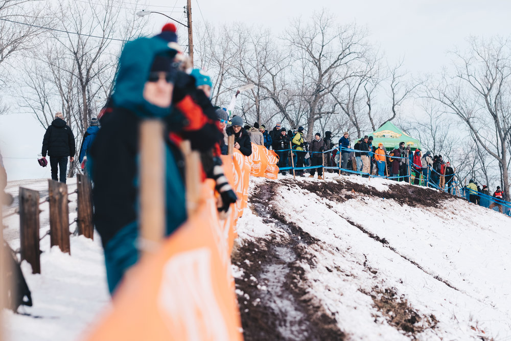 A large crowd waits for the race to begin on Bonk Breaker Hill.
