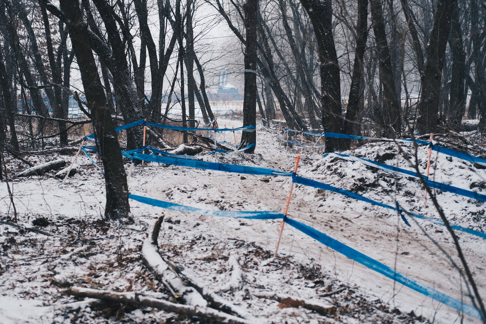 Snow coating the course on Saturday before the pro race Sunday.
