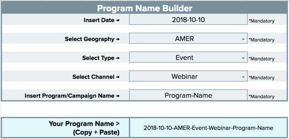 Marketo Program NAme Builder