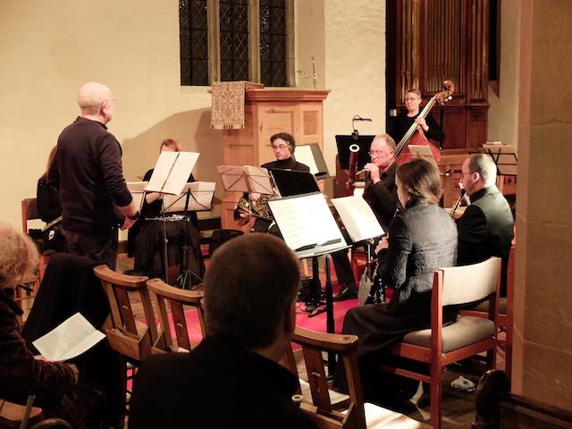 Composer Christopher R. Weeks conducting Ensemble Eos Cymru.