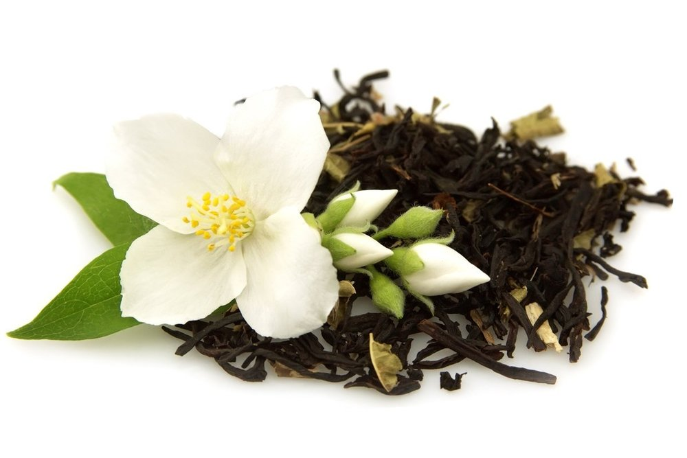 Jasmine tea contains catechins, which can increase a person's metabolic rate, thus aiding in fat burning and weight loss. The scent of jasmine promotes a sense of well-being and calm. Find it in our Zen Blend.