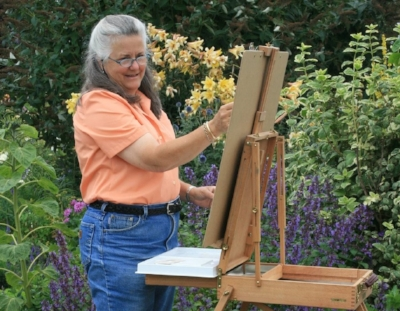 Plein air painting in my garden on a warm summer's day.