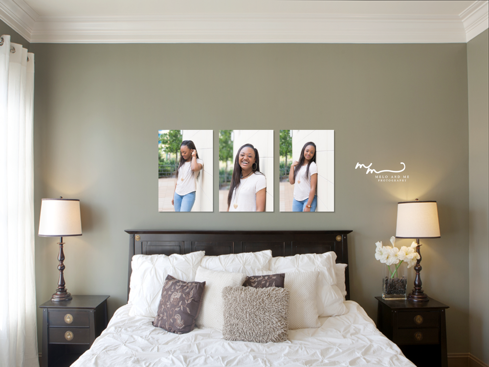 """Created with you in mind.  —A wall display mockup of (3) 16x24"""" gallery wrapped canvases in a master bedroom. Canvases make the perfect decoration for the walls of your home. *Clients have the option to use their walls or choose from a variety of selections amongst Melo and Me Photography."""