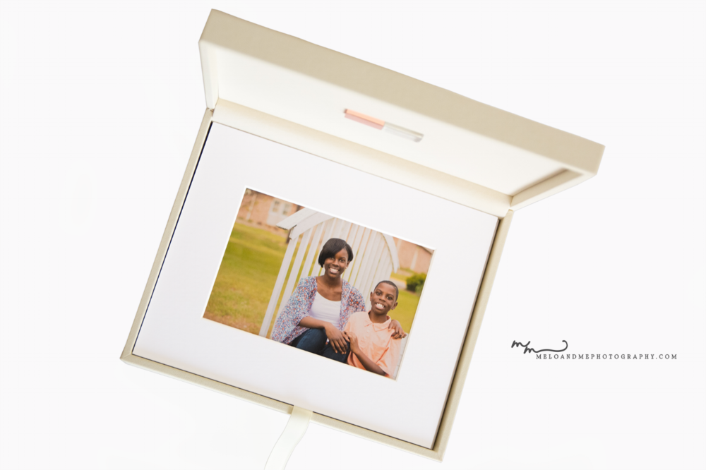 """A premium box of 5x7"""" matted prints, perfect for a family wanting the flexibility to hang or store photos. This particular box features a crystal, rose gold flash/USB drive of each social media file purchased."""