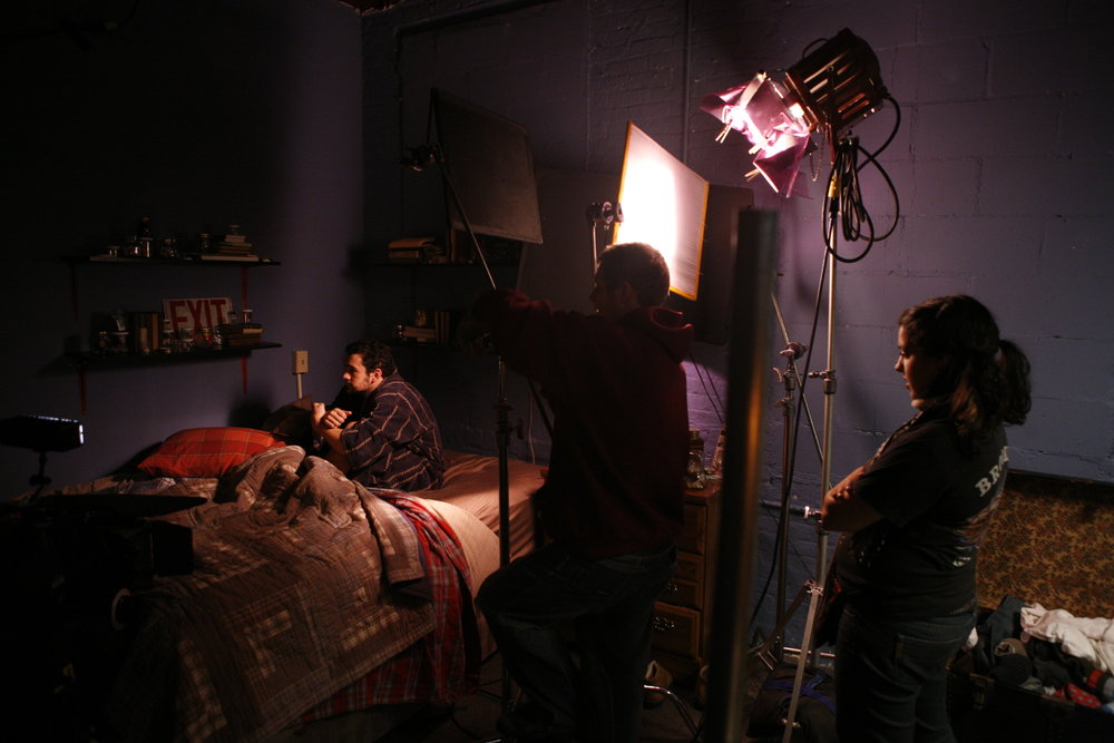 "On the set of ""The Woman Next Door,"" shot in Brooklyn, NY."