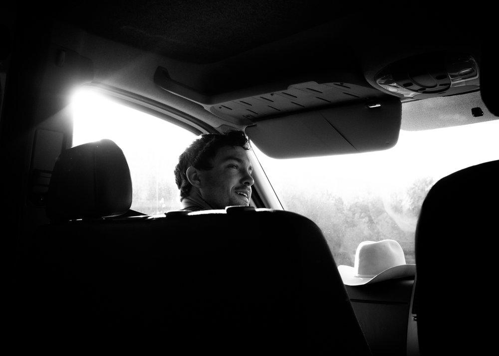 Jared riding shotgun. England.