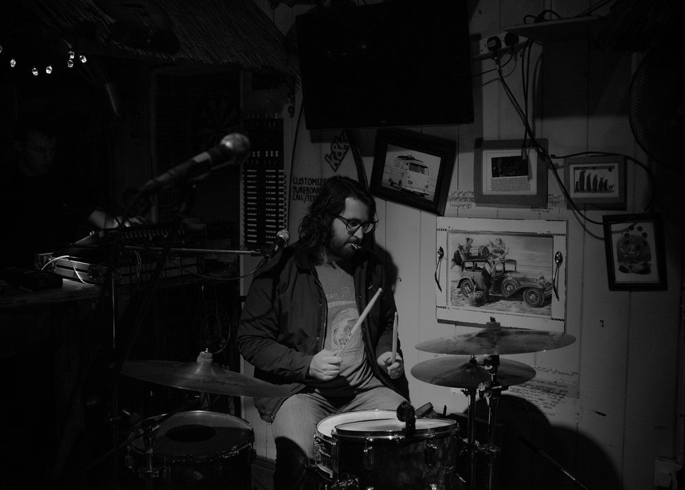 Josh tuning his drums.Newcastle.