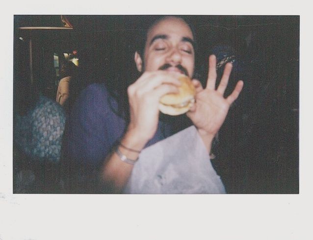 """Jackie O'Brien eating a burger that appears to be transcendent of all other foods. The food truck was called """"Bob's Burgers"""" and im not entirely sure if its legal... but shit was DANK."""
