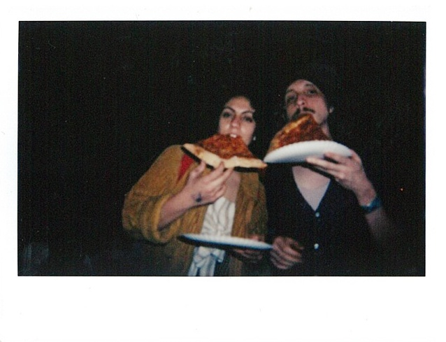 Katie Bug and JoJo demolishing some 'za after our showcase at Fine Southern Gentlemen.