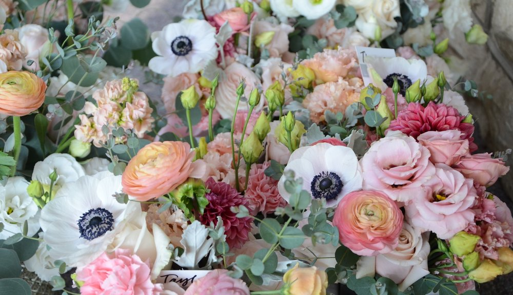 All the bridal party flowers! This color palette was amazing! Some flowers from Arcola Trail Flower Farm! Photo credit: Genuine Photography By Meyer