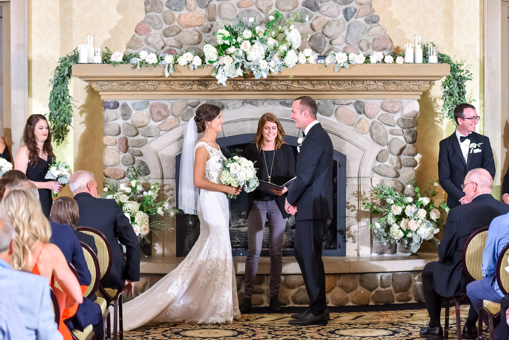 This was such a beautiful ceremony, so special, sweet and intimate. We loved the big fireplace as the alter.