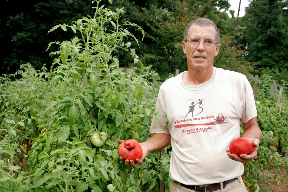 This is my dad and his tomatoes. He wins awards every year for his heirloom tomatoes. Seriously nothing compares - his are the best.