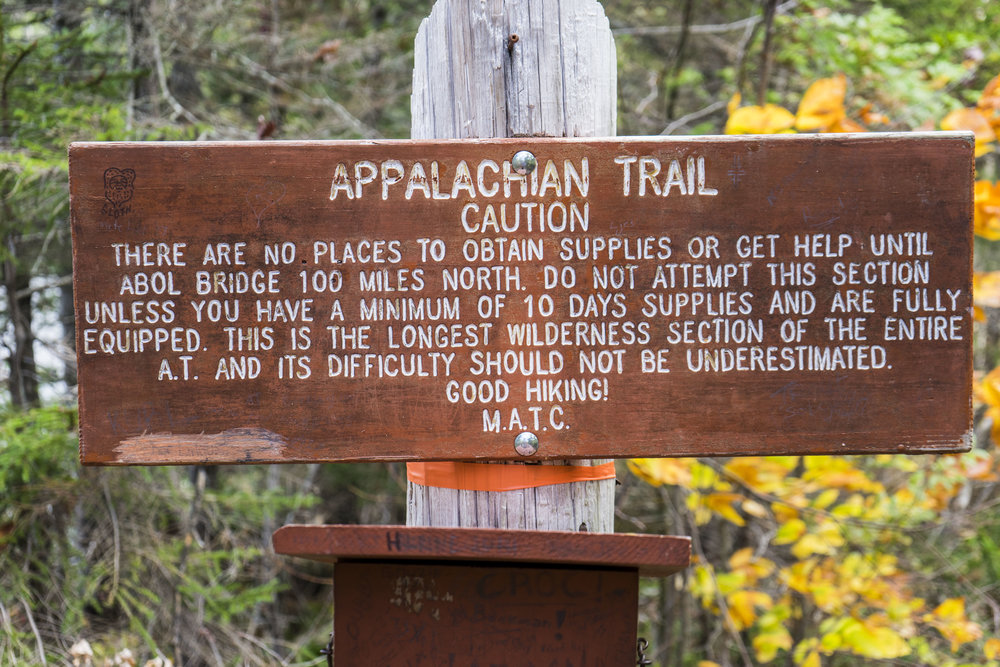 The sign at the trailhead in Monson. There is an identical one 100 miles north.
