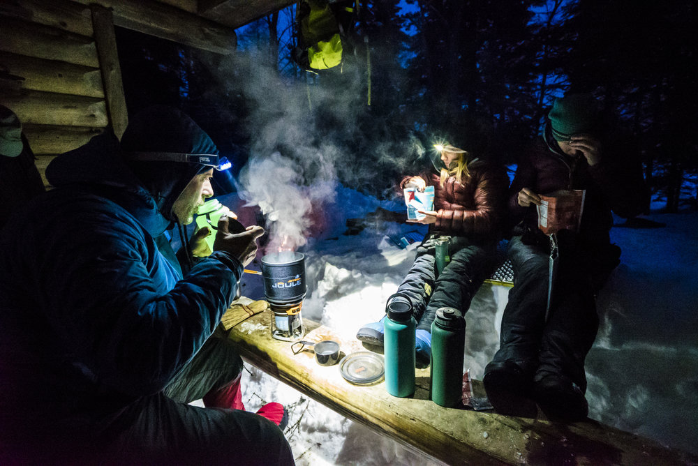 Dinner at South Branch Pond during our 8-day circumnavigation of Baxter State Park. February '17.