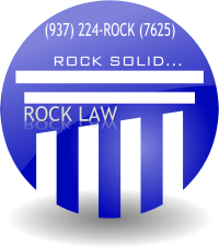 ROCK LAW logo. ROCK SOLID...(937)224-ROCK